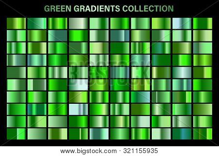 Green, Emerald Glossy Gradient, Metal Foil Texture. Color Swatch Set. Collection Of High Quality Vec