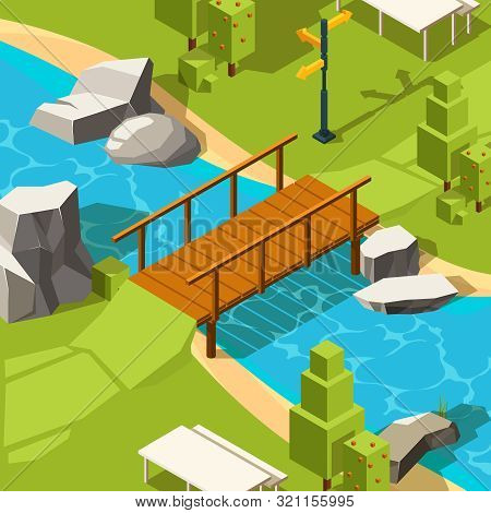 Bridge In Park. Water River Beautiful Place With Bridge In Grass Park For Walking Vector Isometric.