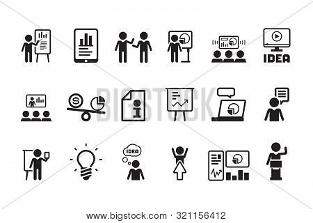 Business Lesson Icon. Presentation Training Speaking Events Conferences Classroom Meeting People Vec