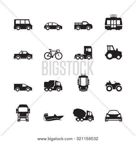 Transport Pictogram. Car Ship Subway Train Yacht Road Symbols Truck Side View Transport Silhouette I
