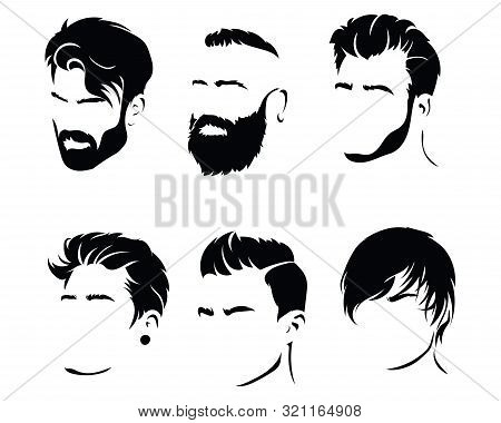 Set Of Hairstyles For Men. Collection Of Black Silhouettes Of Hairstyles And Beards. Vector Illustra