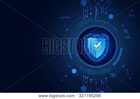 Data Security System, Information Or Network Protection. Cyber Security And Data Protection. Shield