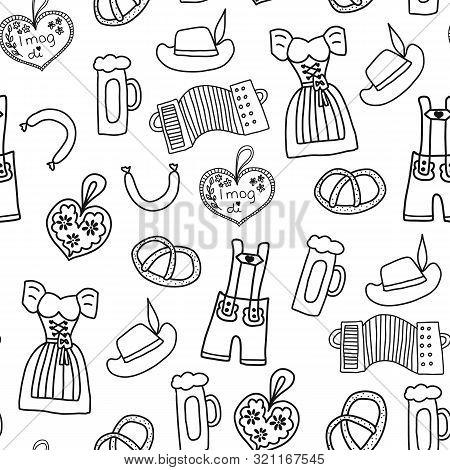 Oktoberfest Hand Drawn Cartoon Doodle Seamless Vector Pattern. Oktoberfest Repeating Background. Tra