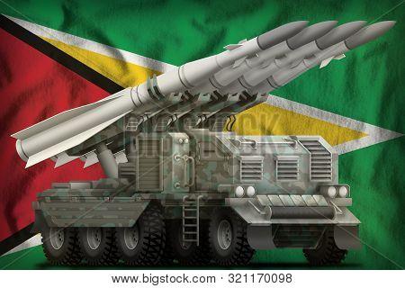 Tactical Short Range Ballistic Missile With Arctic Camouflage On The Guyana Flag Background. 3d Illu