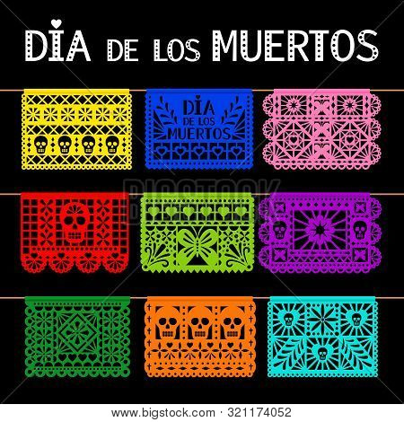 Papel Picado. Mexican Hanging Pecked Perforated Paper Decoration Flags For For Day Of The Dead, Dia