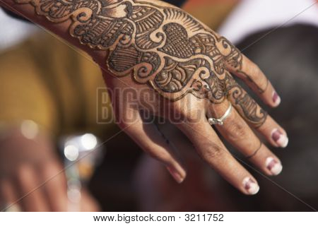 Hand Decorated With Henna