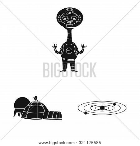 Isolated Object Of Colonization And Sky Logo. Set Of Colonization And Galaxy Vector Icon For Stock.