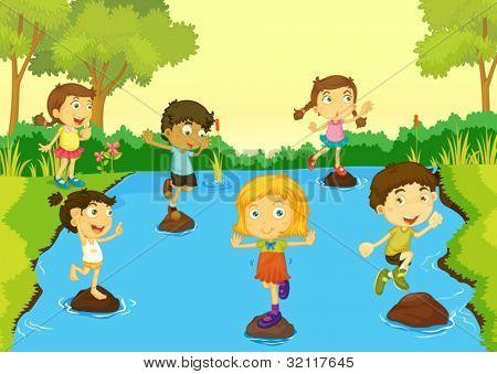 Illustration of children playing