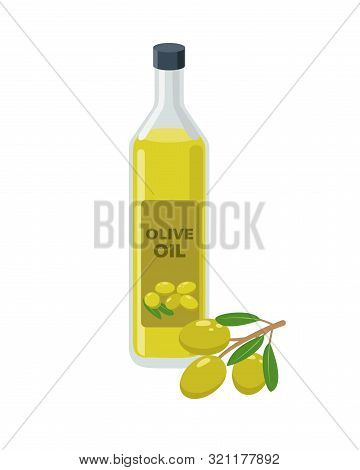 Olive Oil Bottle And Olives On Branch In Flat Design Vector Illustration Isolated On White Backgroun