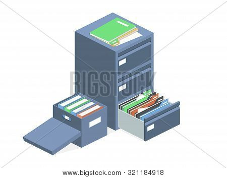 Documents Cabinet And File Archive Storage Box Illustration. Isolated Isometric Business Folders Sto
