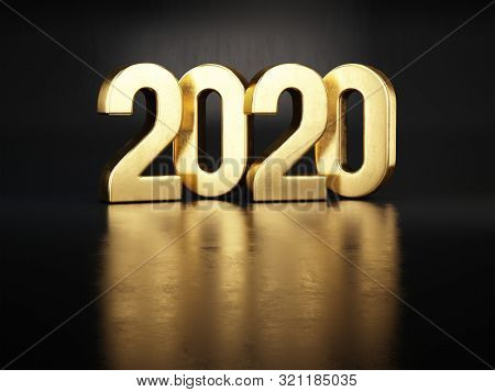 Gold 2020 numbers New year concept - on dark background. 3d rendering