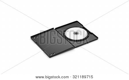 Blank White Dvd Disk In Black Plastic Case Mockup, Isolated, 3d Rendering. Empty Opened Dvd-r Packag