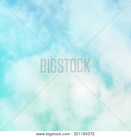 Abstract Background, Design Template With Copy Space. Teal Blue Sky With Soft Clouds