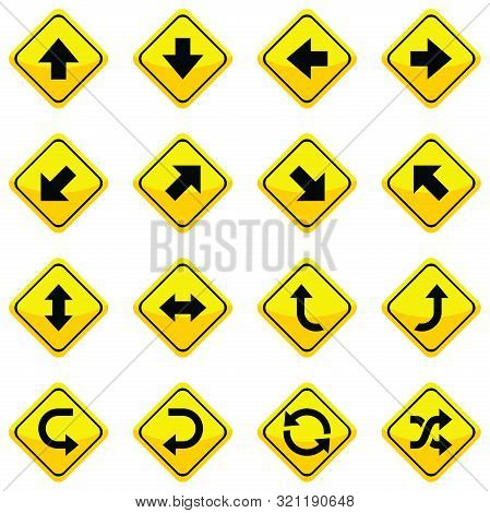Arrow Set Icons Isolated, Set Of Road Traffic Vector Arrows. Arrow Icon. Arrow Vector Icon. Arrow. A