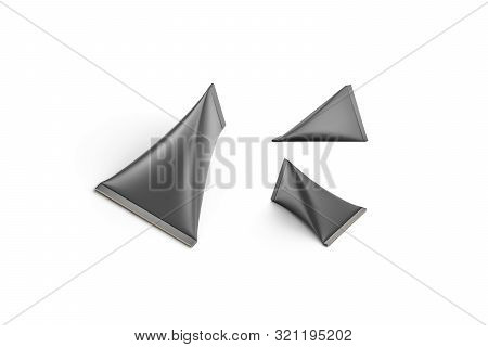 Blank Black Carton Cream Pack Mockup Set, Isolated, 3d Rendering. Empty Cardboard Triangle Packet Wi