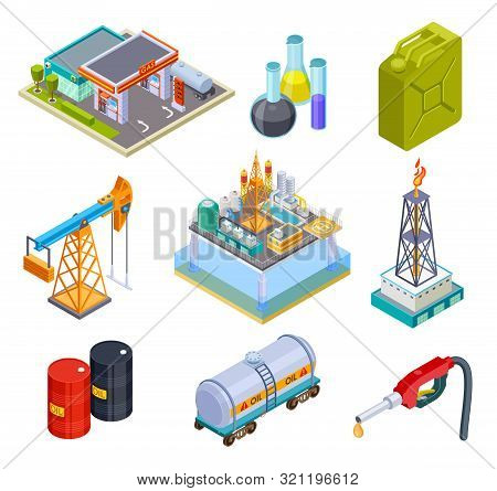 Oil Gas Industry Isometric. Fuel Storage Oil Products Gasoline Can Production Pipeline Canister Tank