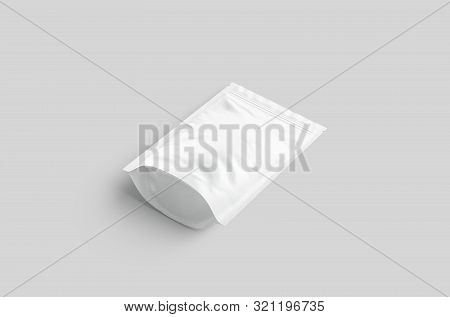 Blank White Zipper Pouch Lying Mockup Isolated On Gray Background, 3d Rendering. Empty Canned Doypac