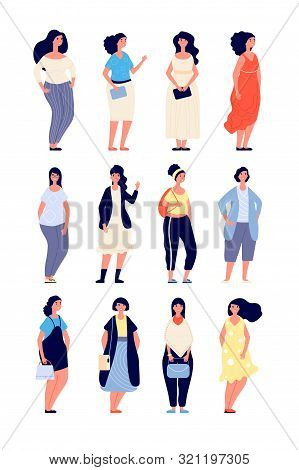 Plus Size Women. Young Overweight Lady In Casual Fashion Clothes. Elegant Curvy Female Models. Chubb