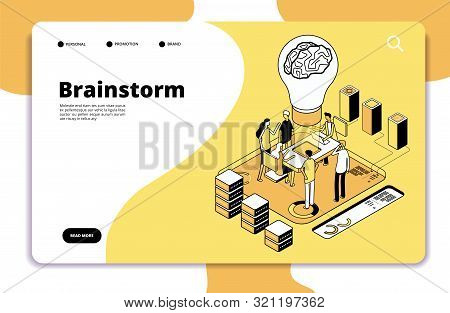 Brainstorm Landing Page. Business People Launching New Project And Brainstorming. Innovation Teamwor