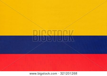 Colombia National Fabric Flag Textile Background. Symbol Of International World South America Countr