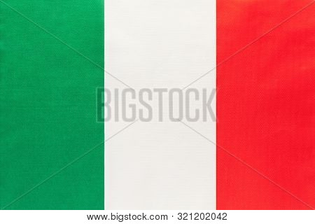 Italy National Fabric Flag, Textile Background. Symbol Of International World European Country. Stat