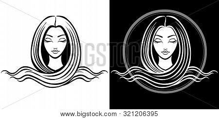 The Stylized Portrait Of The Young Beautiful Girl With Long Hair. The Linear Isolated Drawing. Black