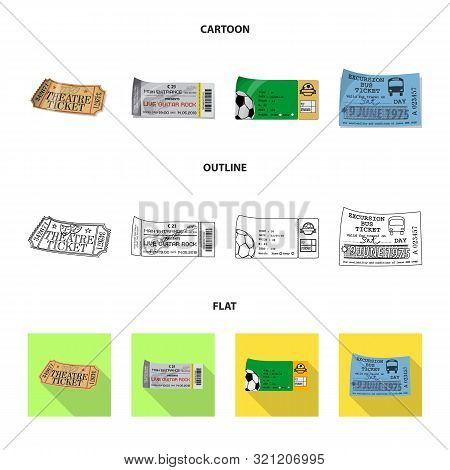 Vector Illustration Of Ticket And Admission Logo. Collection Of Ticket And Event Vector Icon For Sto