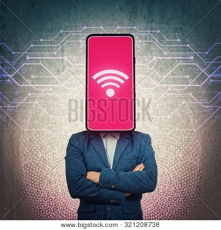 Obsessed Phone Headed Businessman. Wifi Addiction, Social Networks Manipulation And Brainwashing Con