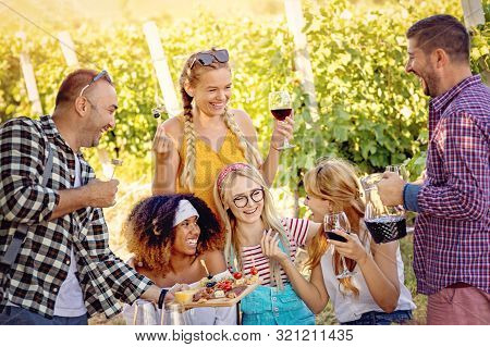 Happy Friends In Vineyard Tasting Wine - Young Multi-ethnic People Enjoying Time Together Outside At