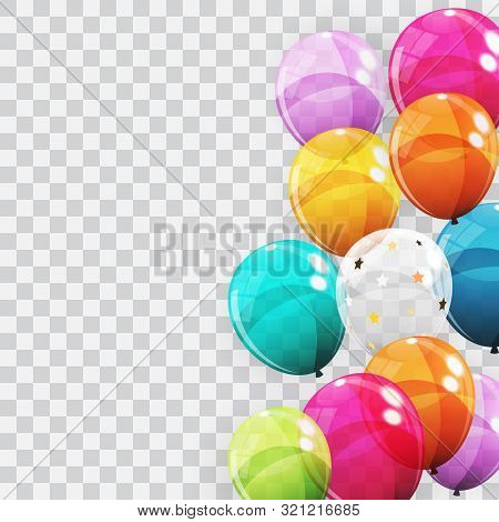 Group Of Colour Glossy Helium Balloons Background. Set Of  Balloons For Birthday, Anniversary, Celeb