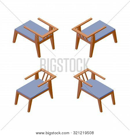 Isolated On White Background Isometric Collection Of Comfortable Chairs, Good For Hotel Or Spa Resor