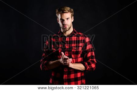 Hipster Black Background. Standards Of Manliness Or Masculinity. Handsome Well Groomed Man In Checke