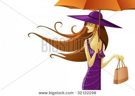 illustration of stylish lady wearing hat with umbrella