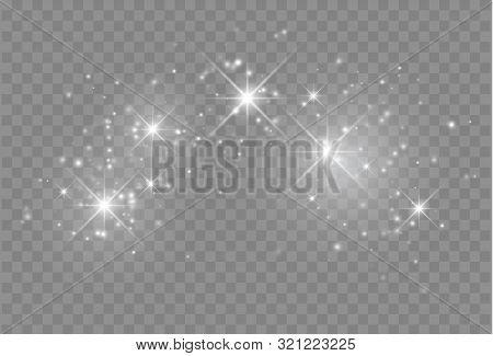 Glowing Light Effect With Many Glitter Particles Isolated On Transparent Background. Vector Starry C