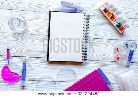 Medical Student Working Place At Wooden Table Top View