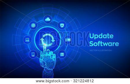 Update Software. Upgrade Software Version Concept On Virtual Screen. Computer Program Upgrade Busine