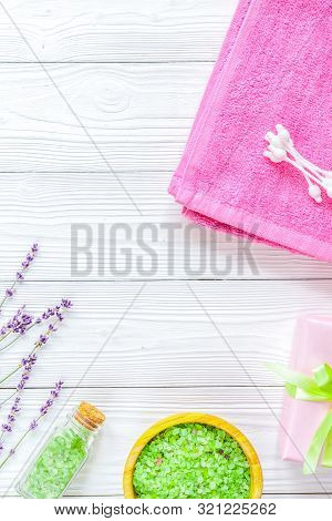 Natural Organic Cosmetics For Baby With Lavender On Wooden Background