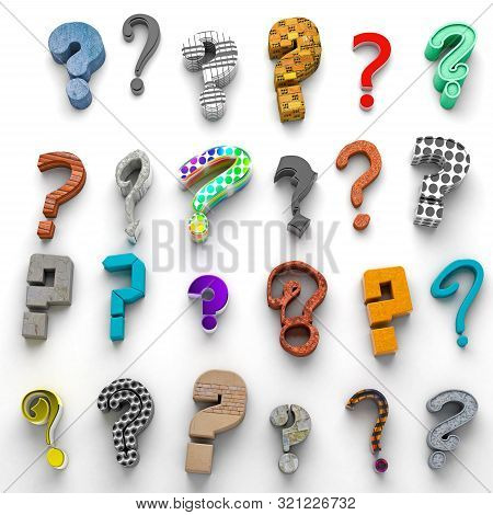 Questions Mark Isolated Over White Background.concept Of Doubts And Questions.many Questions Icon.3d