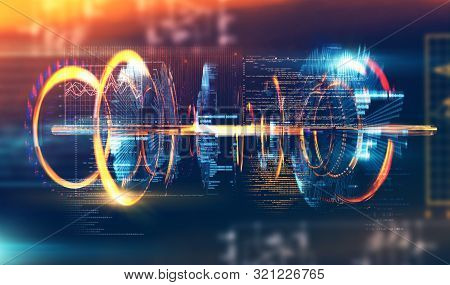 Futuristic And Modern Design Of Prototype.code And Numbers For Computing And Quantum Communication C