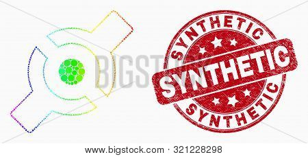 Pixel Bright Spectral Artificial Joint Mosaic Pictogram And Synthetic Seal Stamp. Red Vector Round G