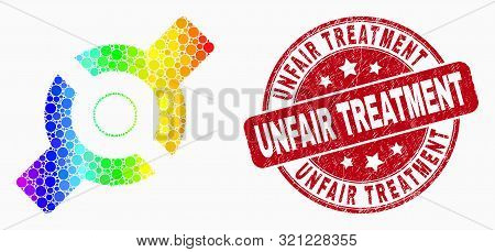 Dotted Bright Spectral Artificial Joint Mosaic Pictogram And Unfair Treatment Seal Stamp. Red Vector