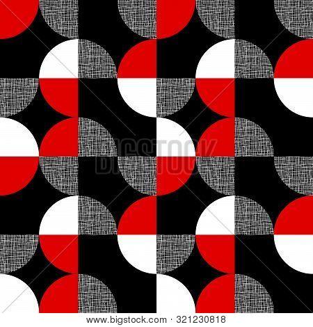 Black, Red, White Geometric Plaid Seamless Pattern