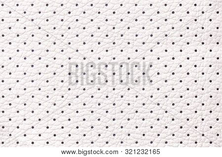 Perforated White Leather Texture Background, Closeup. Light Ivory Backdrop From Wrinkle Skin, Struct