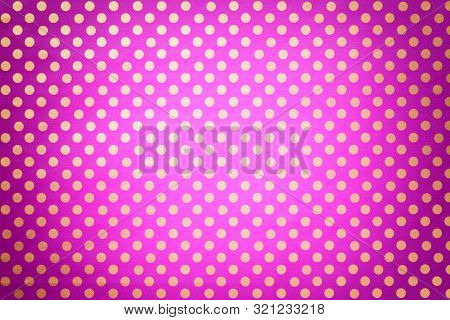 Light Purple Background From Wrapping Paper With A Pattern Of Golden Polka Dot Closeup. Texture Of H