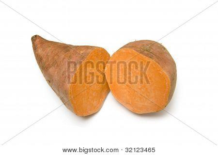 Sweet potato isolated on a white studio background.