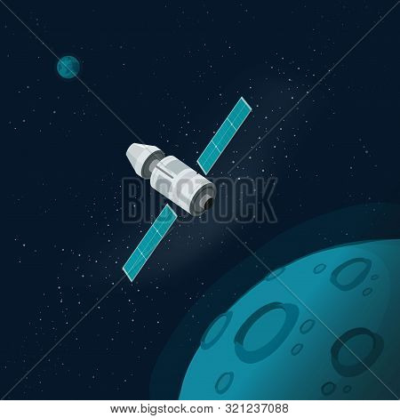 Universe Or Outer Space With Planets And Spaceship Vector Illustration, Flat Cartoon Flying Satellit