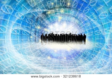 conceptual technology image of silhouetted group of business people and binary code in abstract lights