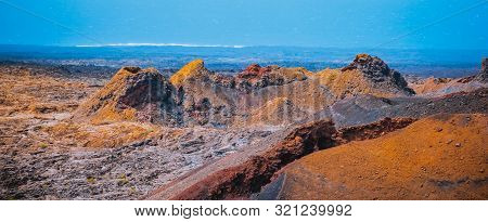 Volcanic Landscape And Volcano Crater At Timanfaya National Park, Lanzarote Island, Canary Spain