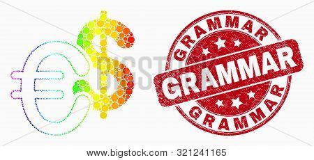 Pixel Rainbow Gradiented Currency Mosaic Icon And Grammar Watermark. Red Vector Round Distress Seal