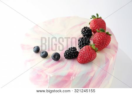 Birthday Cake With Strawberries, Blueberries And Blackberry On White Background. Picture For A Menu